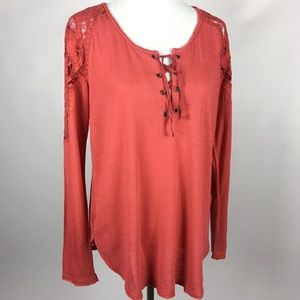 Free People Crochet Knit Long Sleeve Tunic Top Med